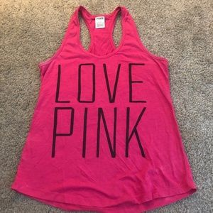 PINK by VS black & pink racerback tank small